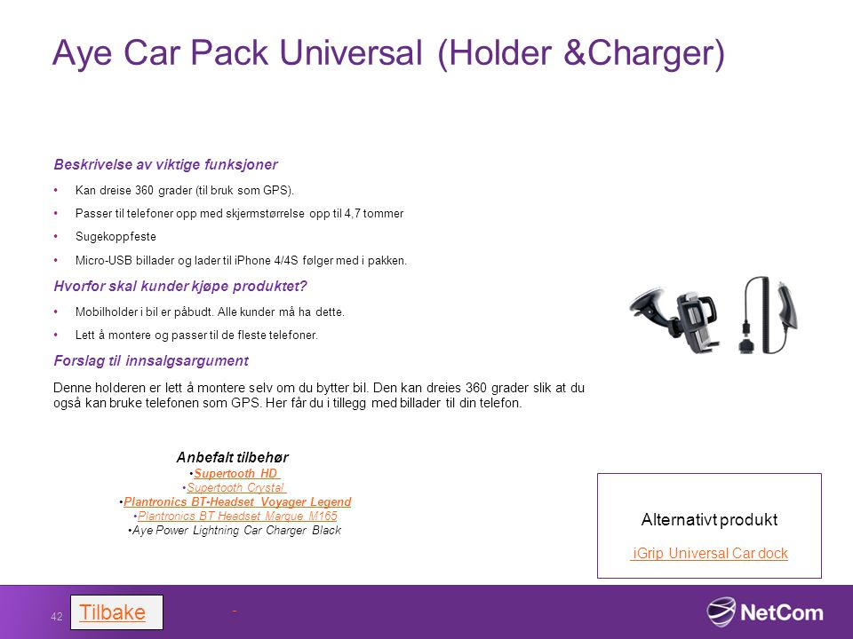 Aye Car Pack Universal (Holder &Charger)