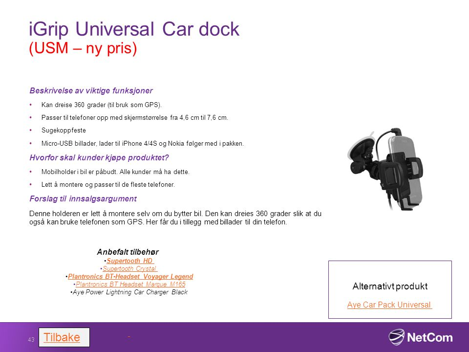 iGrip Universal Car dock (USM – ny pris)