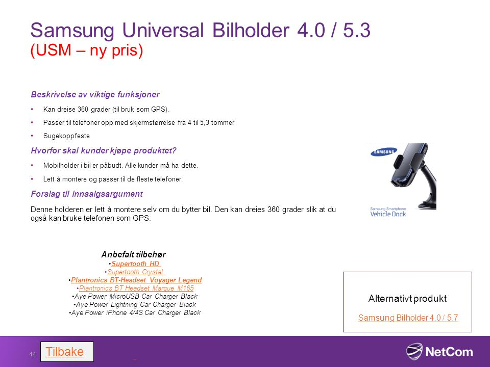 Samsung Universal Bilholder 4.0 / 5.3 (USM – ny pris)