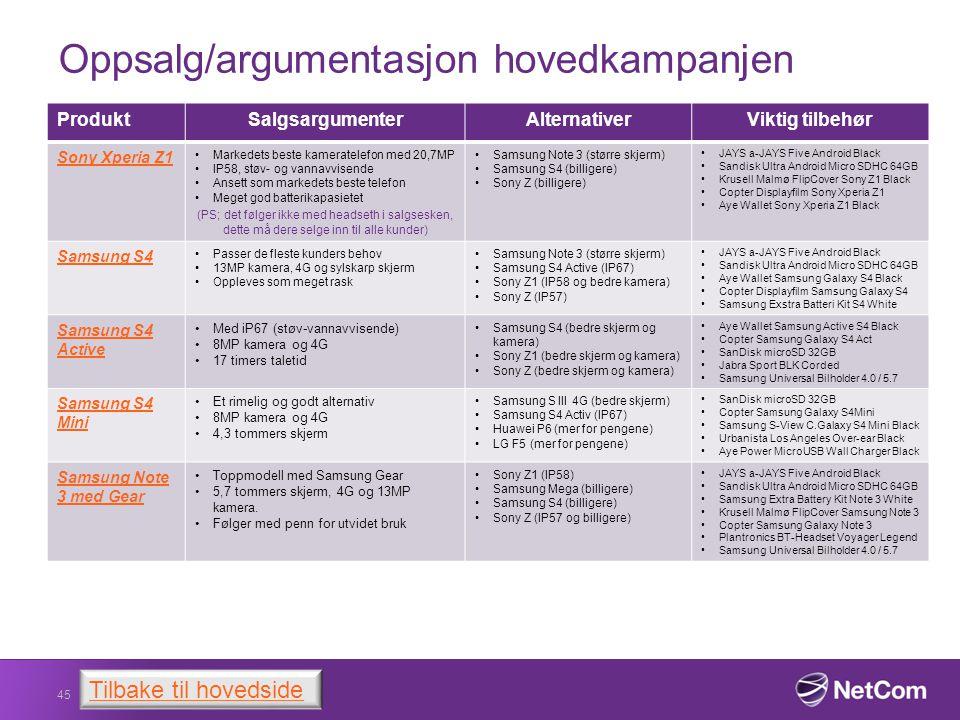 Oppsalg/argumentasjon hovedkampanjen