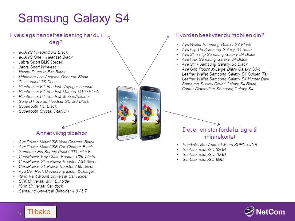 Samsung Galaxy S4 Tilbake Hva slags handsfree løsning har du i dag