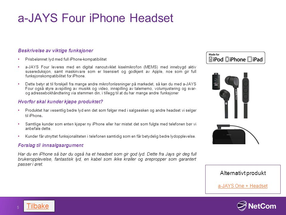 a-JAYS Four iPhone Headset