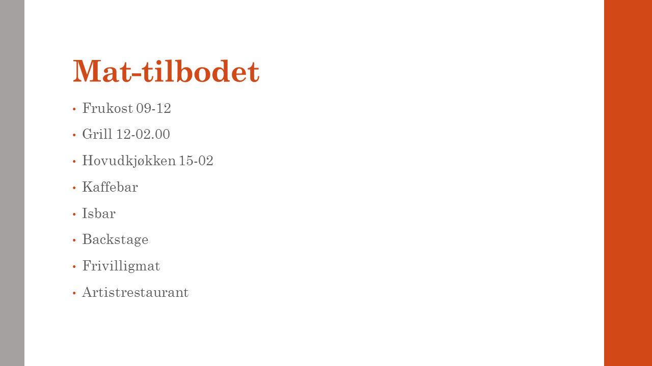 Mat-tilbodet Frukost 09-12 Grill 12-02.00 Hovudkjøkken 15-02 Kaffebar