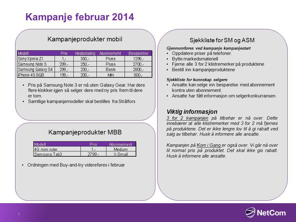 Kampanje februar 2014 Kampanjeprodukter mobil Kampanjeprodukter MBB