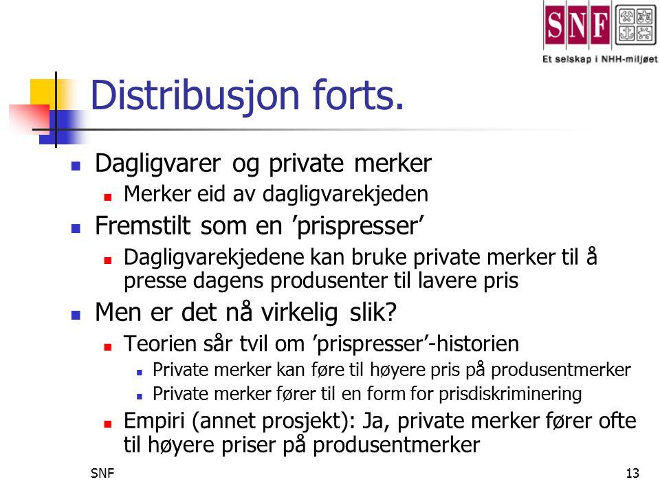Distribusjon forts. Dagligvarer og private merker