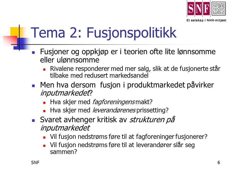 Tema 2: Fusjonspolitikk