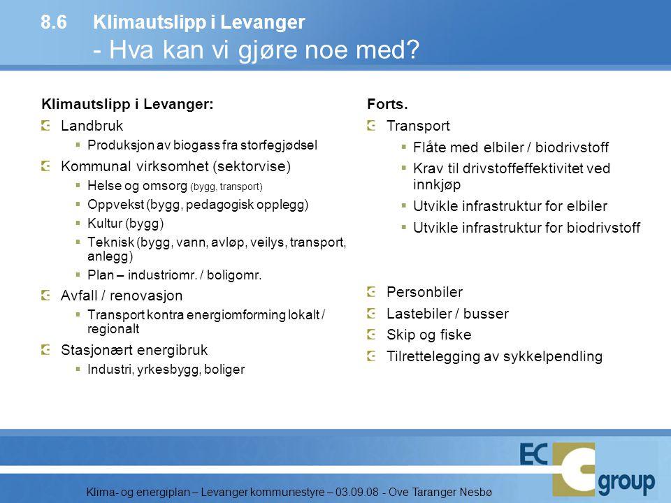 8.6 Klimautslipp i Levanger - Hva kan vi gjøre noe med