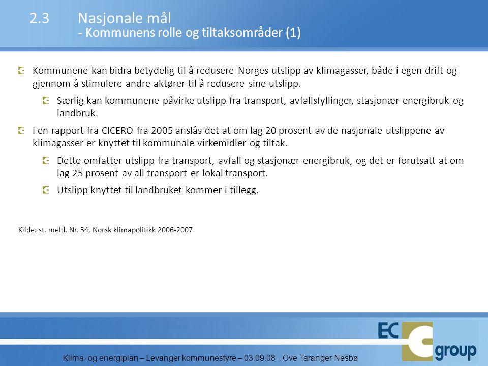 2.3 Nasjonale mål - Kommunens rolle og tiltaksområder (1)