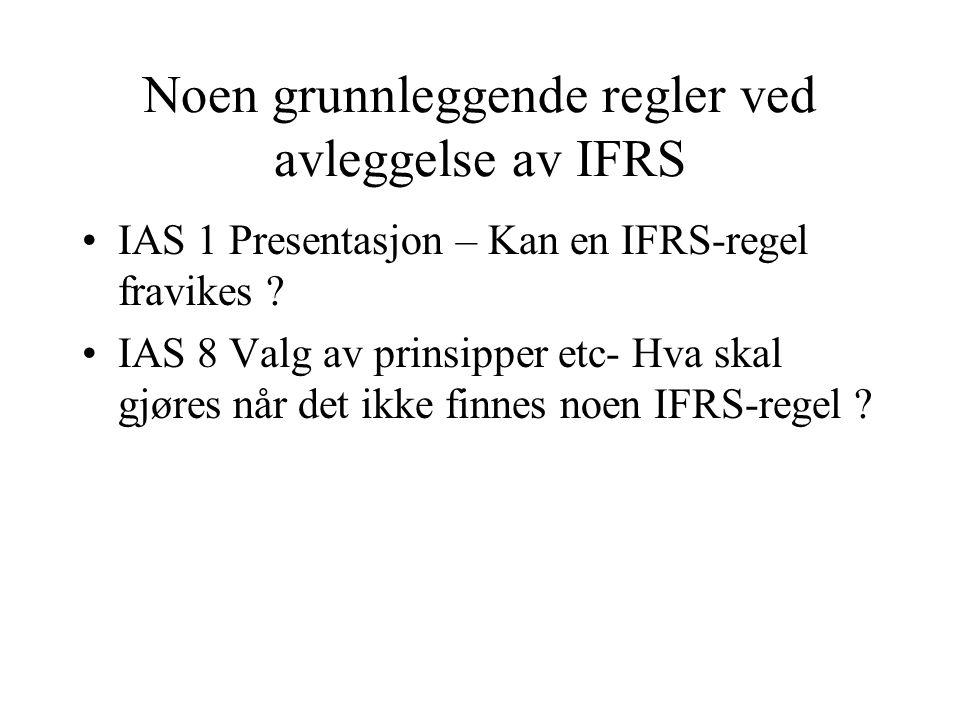 Noen grunnleggende regler ved avleggelse av IFRS