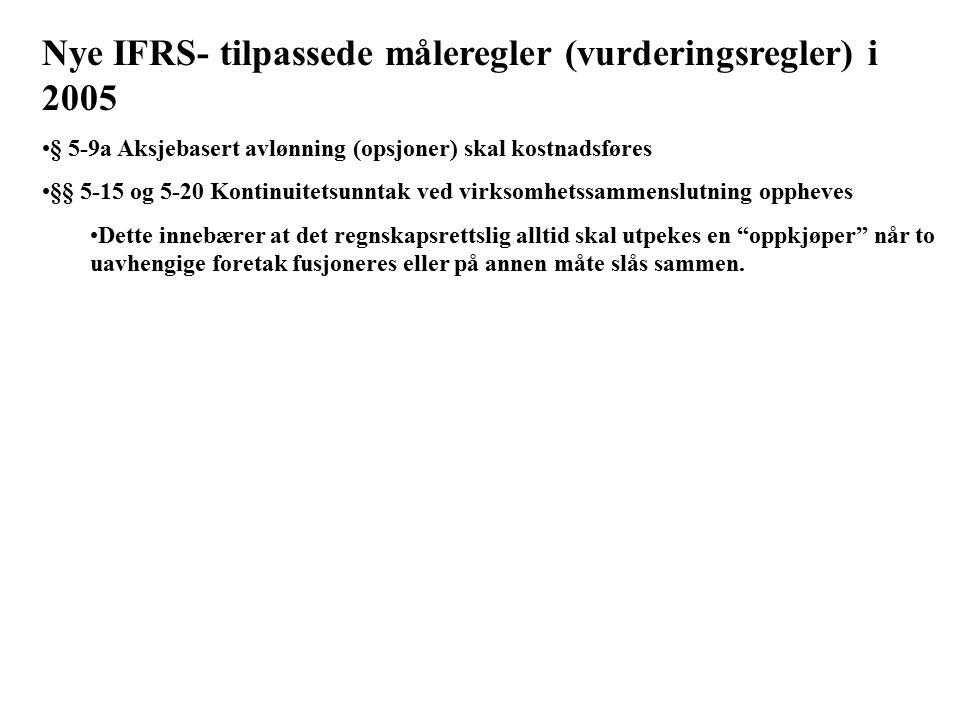 Nye IFRS- tilpassede måleregler (vurderingsregler) i 2005