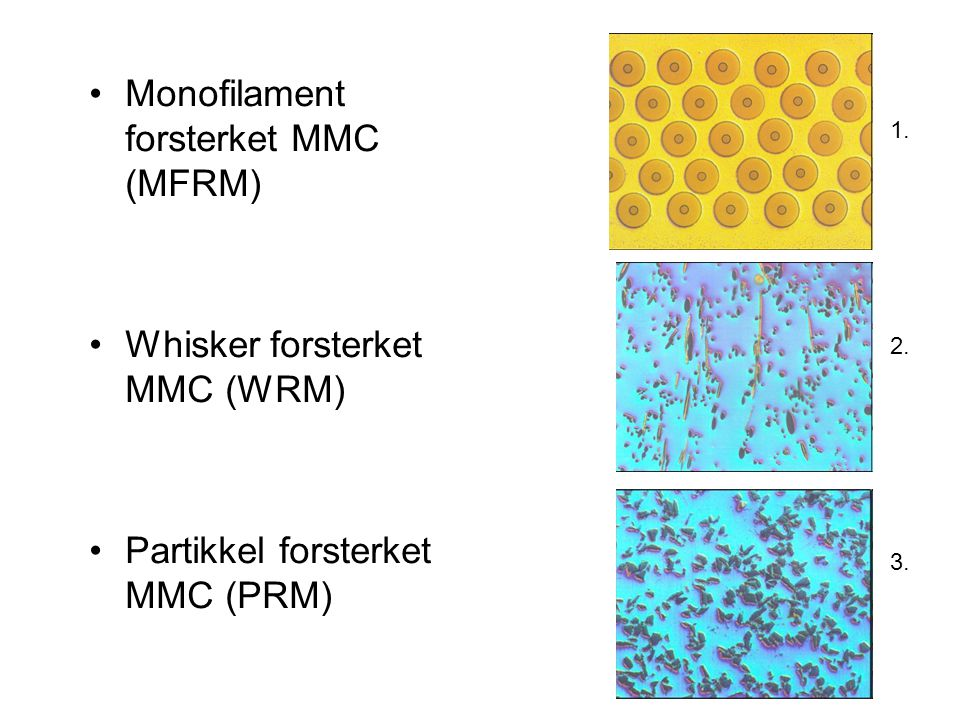 Monofilament forsterket MMC (MFRM)