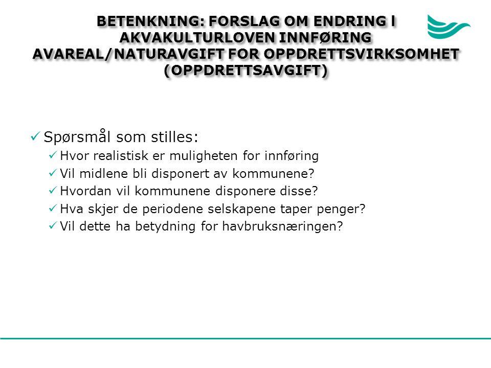 BETENKNING: FORSLAG OM ENDRING l AKVAKULTURLOVEN INNFØRING AVAREAL/NATURAVGIFT FOR OPPDRETTSVIRKSOMHET (OPPDRETTSAVGIFT)