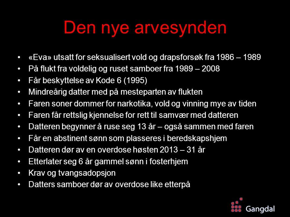 Den nye arvesynden «Eva» utsatt for seksualisert vold og drapsforsøk fra 1986 – 1989. På flukt fra voldelig og ruset samboer fra 1989 – 2008.