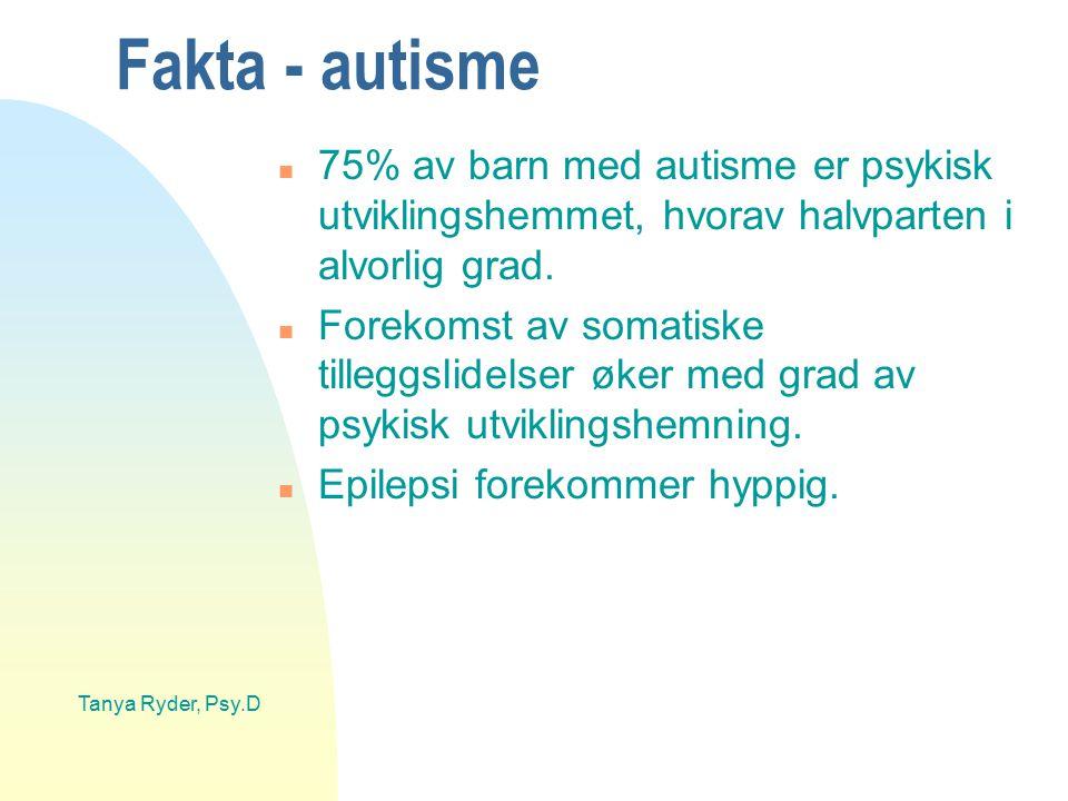 Fakta - autisme 75% av barn med autisme er psykisk utviklingshemmet, hvorav halvparten i alvorlig grad.