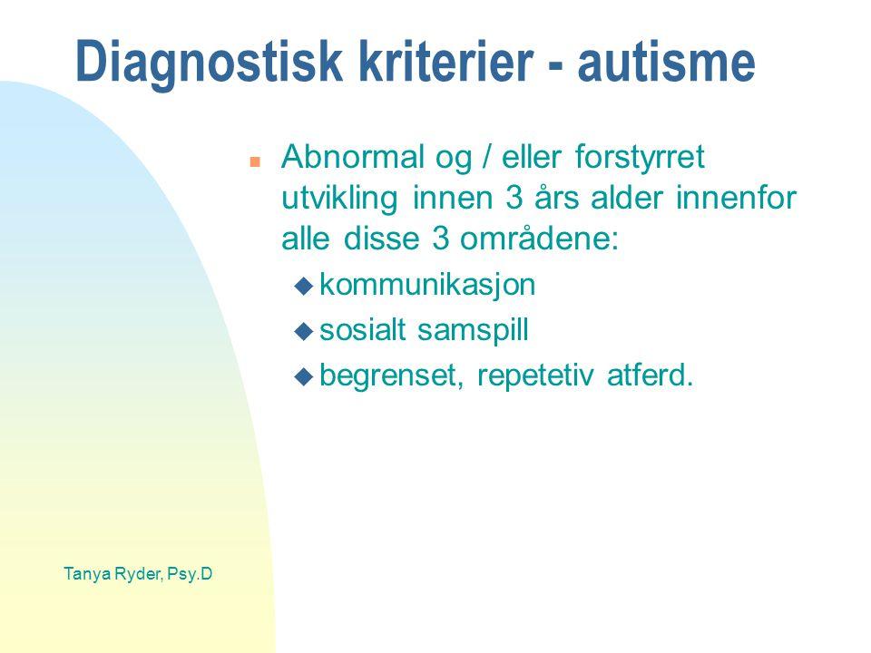 Diagnostisk kriterier - autisme