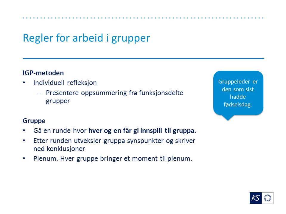 Regler for arbeid i grupper