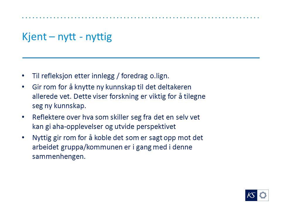Kjent – nytt - nyttig Til refleksjon etter innlegg / foredrag o.lign.