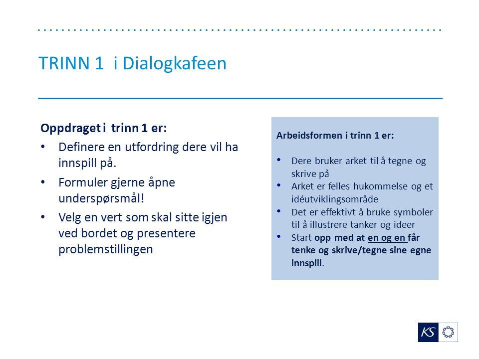 TRINN 1 i Dialogkafeen Oppdraget i trinn 1 er: