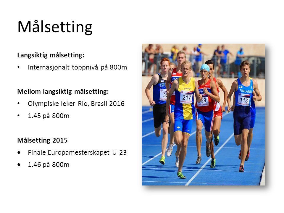Målsetting Langsiktig målsetting: Internasjonalt toppnivå på 800m