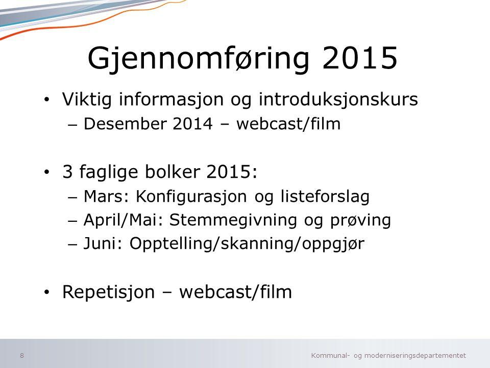 Gjennomføring 2015 Viktig informasjon og introduksjonskurs