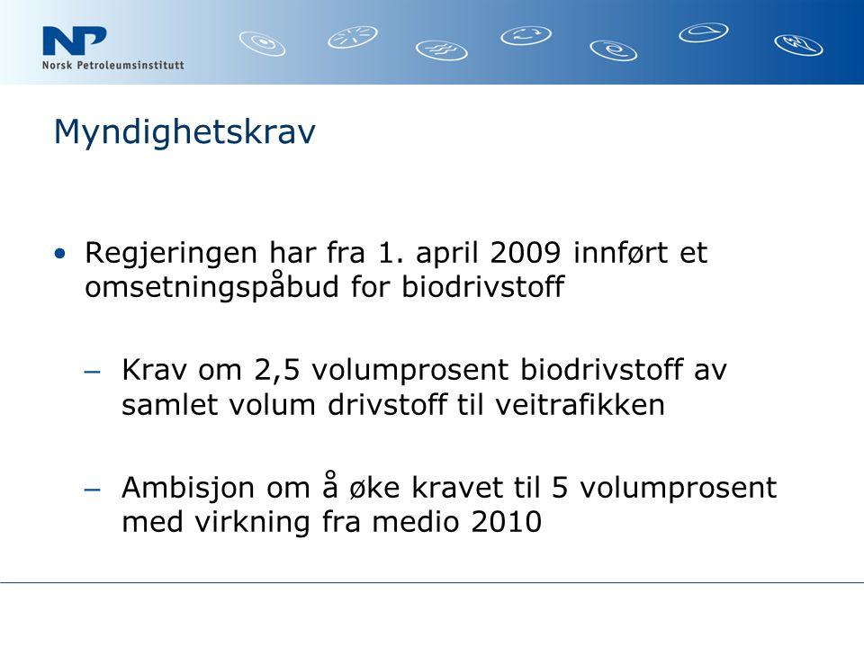 Myndighetskrav Regjeringen har fra 1. april 2009 innført et omsetningspåbud for biodrivstoff.