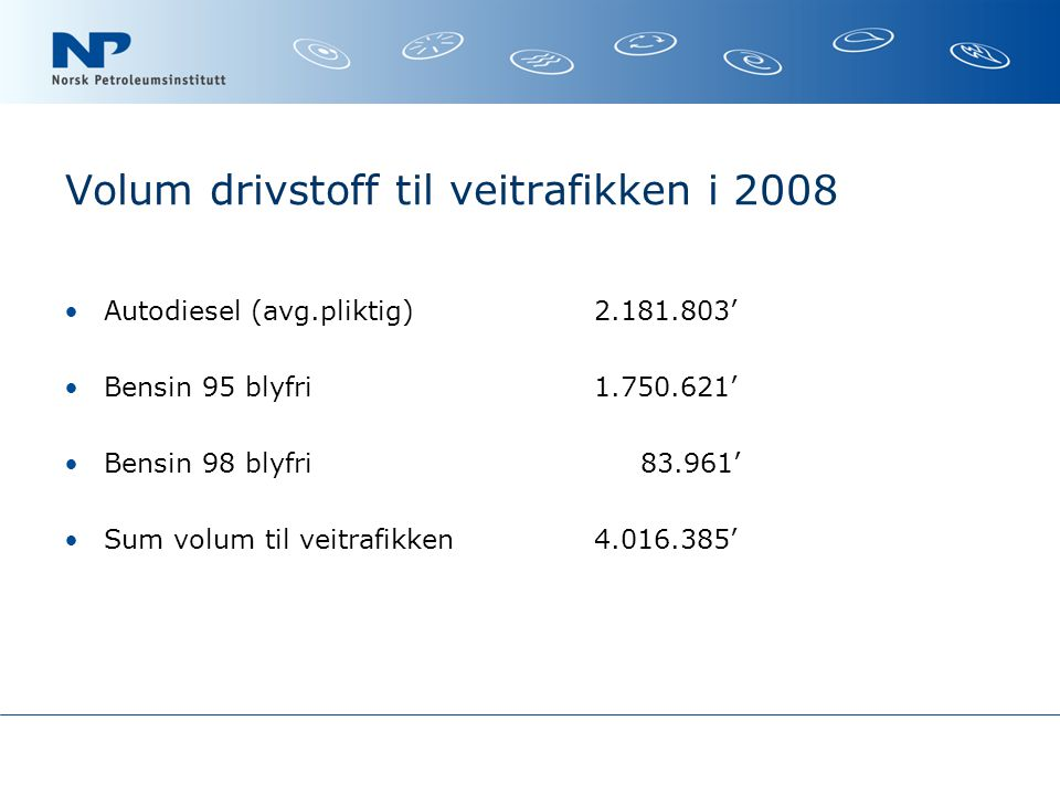 Volum drivstoff til veitrafikken i 2008