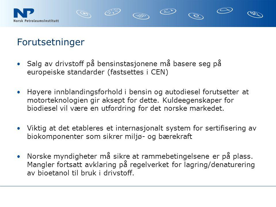 Forutsetninger Salg av drivstoff på bensinstasjonene må basere seg på europeiske standarder (fastsettes i CEN)