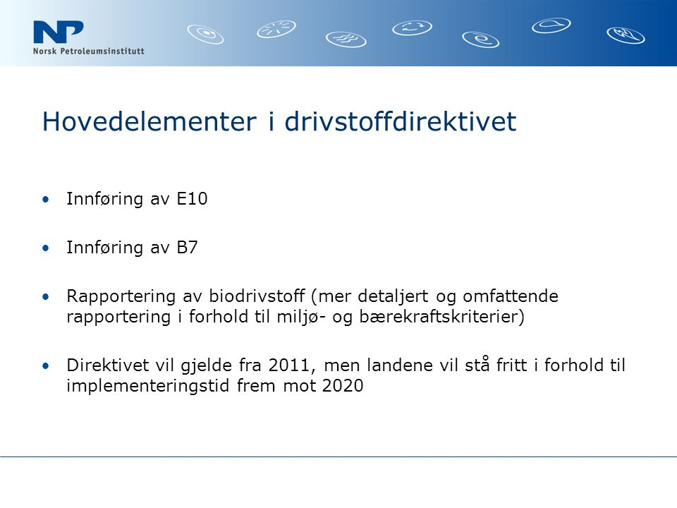 Hovedelementer i drivstoffdirektivet