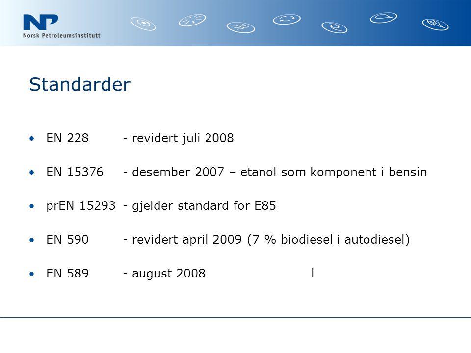 Standarder EN 228 - revidert juli 2008