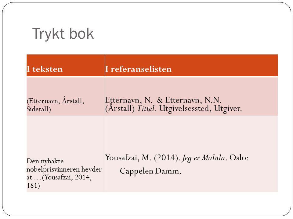 Trykt bok I teksten I referanselisten