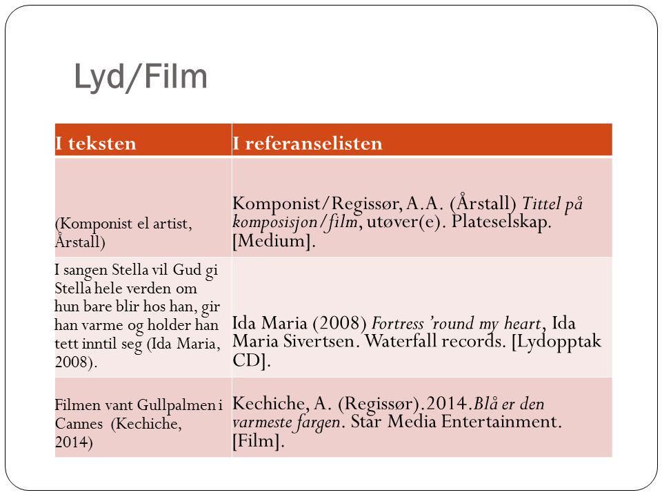 Lyd/Film I teksten I referanselisten