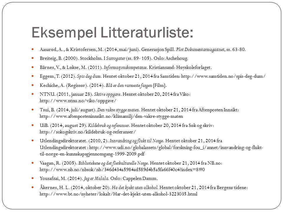 Eksempel Litteraturliste: