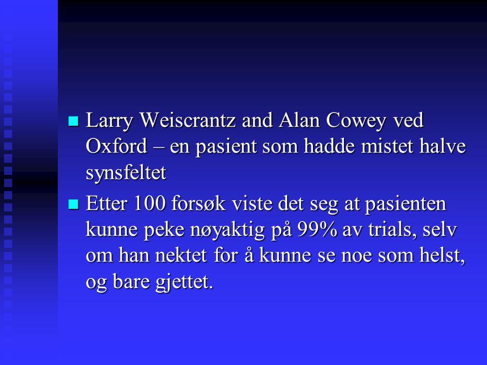 Larry Weiscrantz and Alan Cowey ved Oxford – en pasient som hadde mistet halve synsfeltet