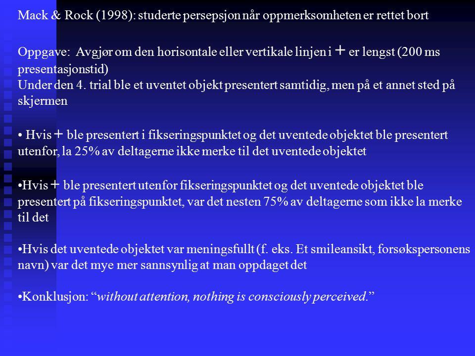 Mack & Rock (1998): studerte persepsjon når oppmerksomheten er rettet bort