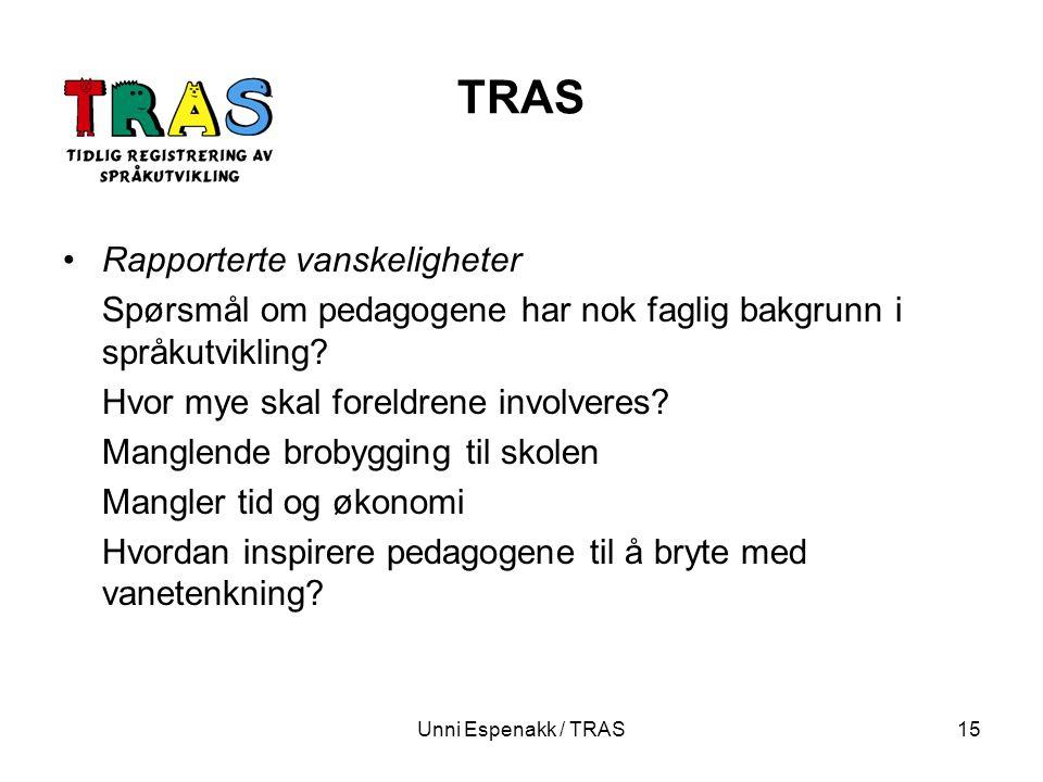 TRAS Rapporterte vanskeligheter