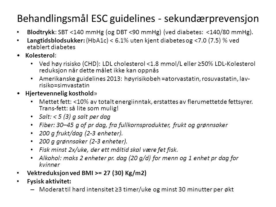 Behandlingsmål ESC guidelines - sekundærprevensjon