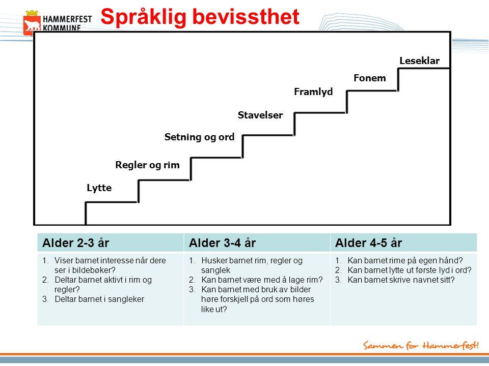 Språklig bevissthet Alder 2-3 år Alder 3-4 år Alder 4-5 år Leseklar
