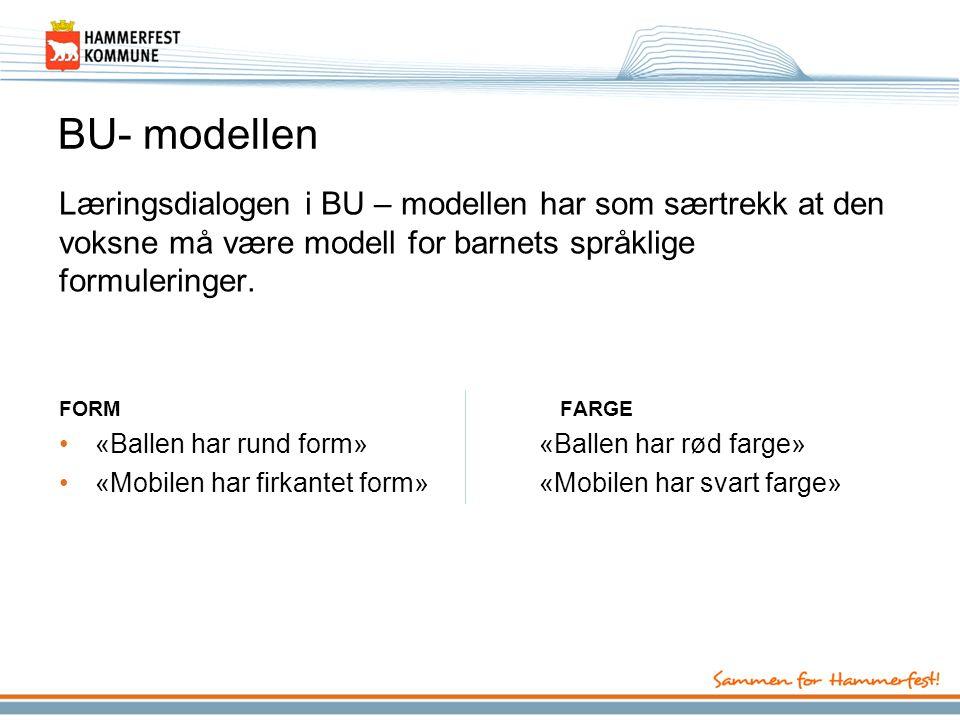 BU- modellen Læringsdialogen i BU – modellen har som særtrekk at den voksne må være modell for barnets språklige formuleringer.