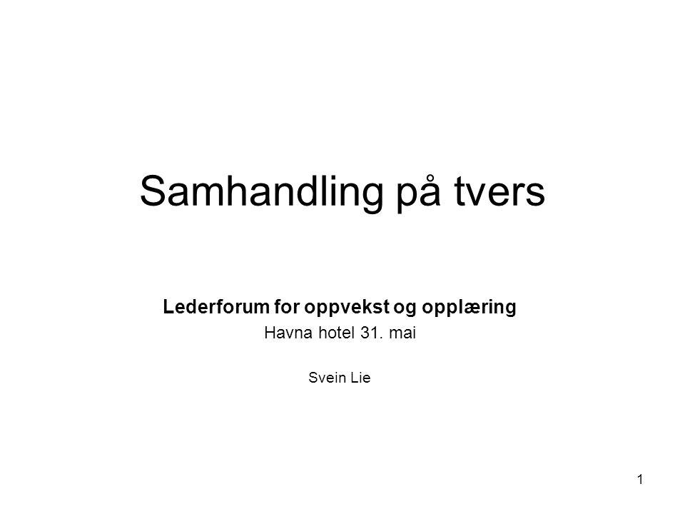 Lederforum for oppvekst og opplæring Havna hotel 31. mai Svein Lie