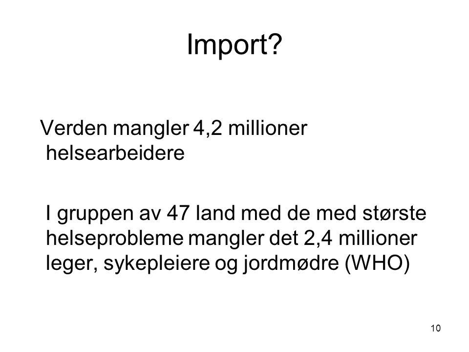 Import Verden mangler 4,2 millioner helsearbeidere