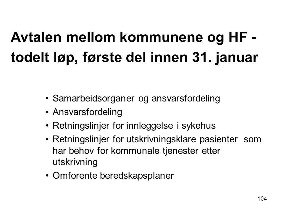Avtalen mellom kommunene og HF - todelt løp, første del innen 31