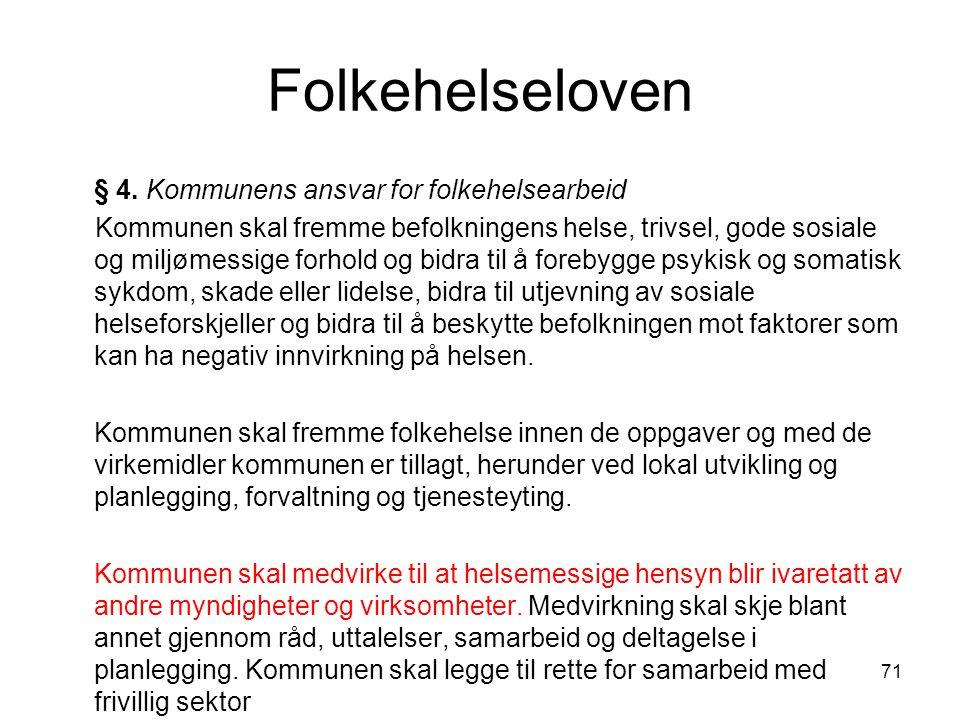Folkehelseloven § 4. Kommunens ansvar for folkehelsearbeid