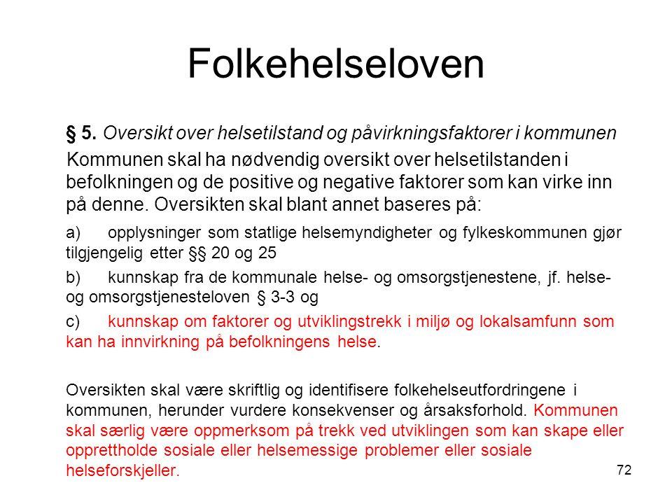 Folkehelseloven § 5. Oversikt over helsetilstand og påvirkningsfaktorer i kommunen.
