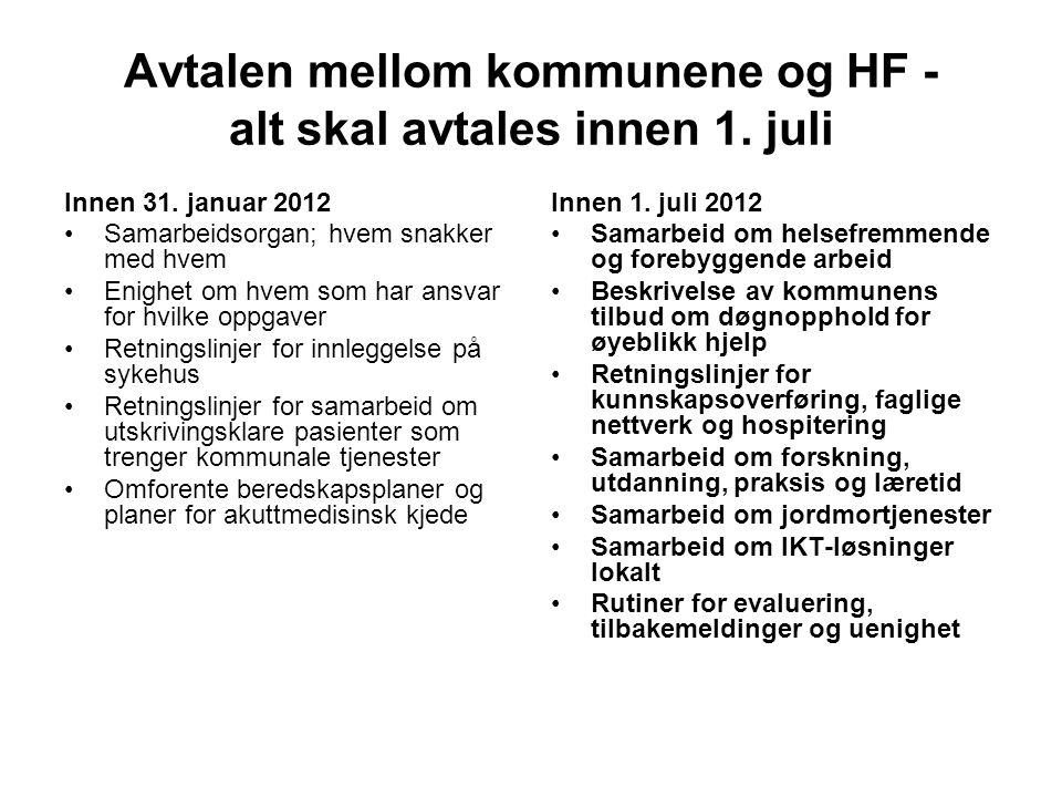 Avtalen mellom kommunene og HF - alt skal avtales innen 1. juli