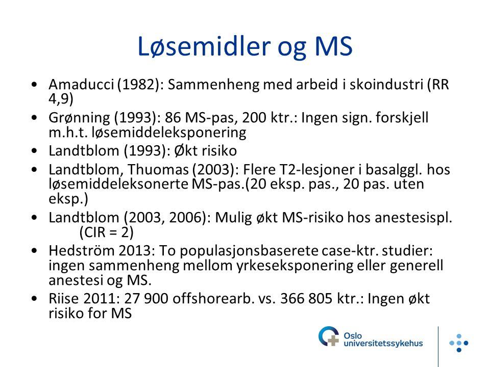 Løsemidler og MS Amaducci (1982): Sammenheng med arbeid i skoindustri (RR 4,9)