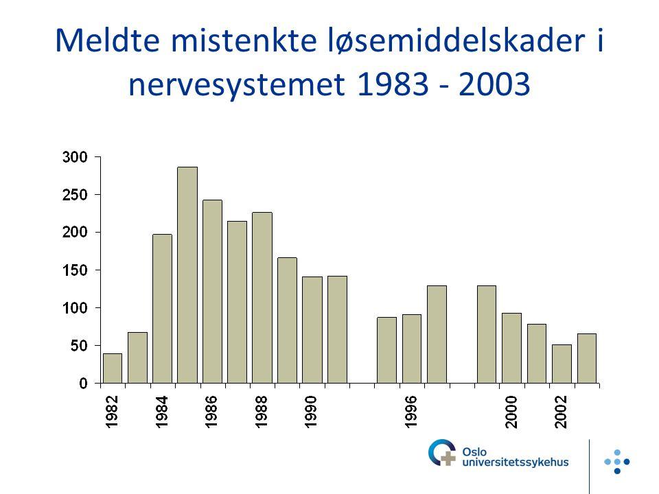 Meldte mistenkte løsemiddelskader i nervesystemet 1983 - 2003