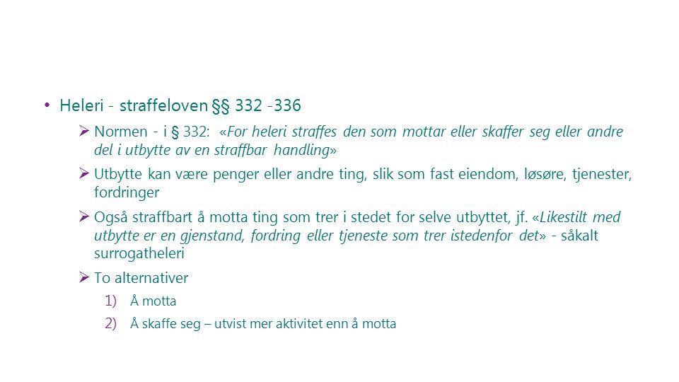 Heleri - straffeloven §§ 332 -336