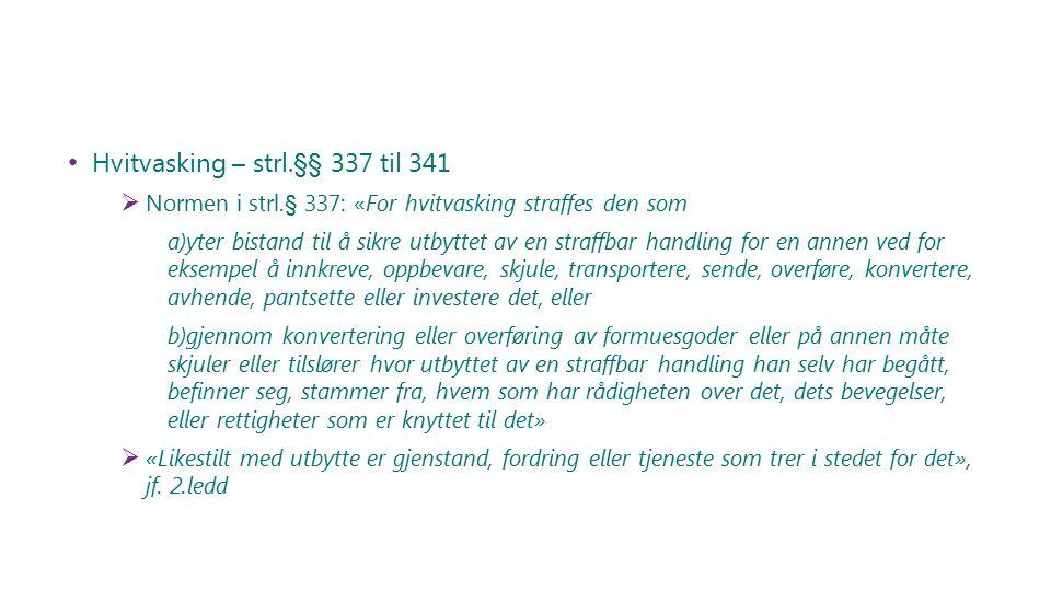Hvitvasking – strl.§§ 337 til 341