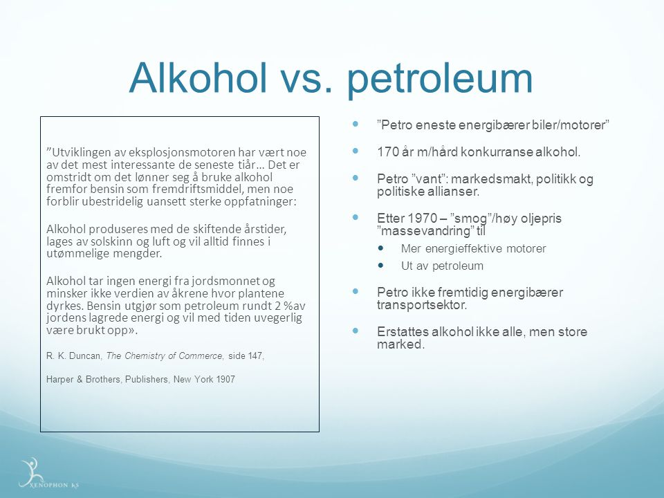 Alkohol vs. petroleum