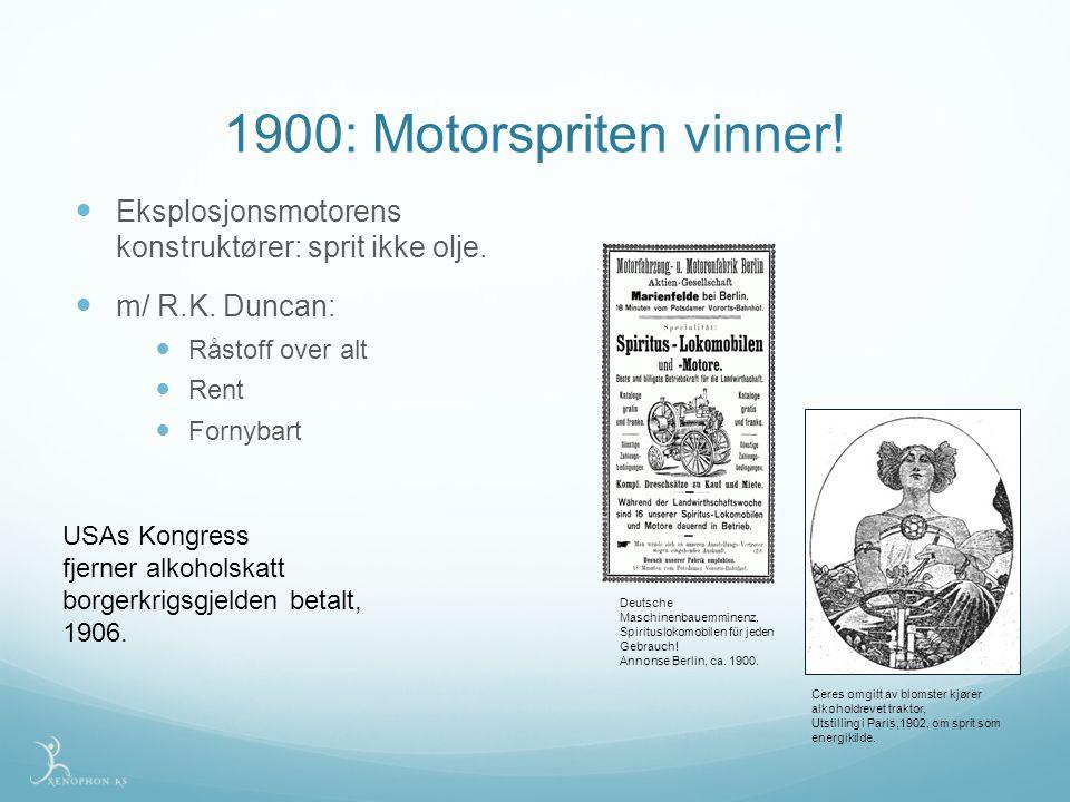 1900: Motorspriten vinner! Eksplosjonsmotorens konstruktører: sprit ikke olje. m/ R.K. Duncan: Råstoff over alt.